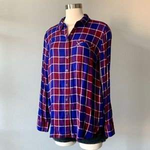 Lucky Brand Bungalow Plaid Back Button Shirt sz M